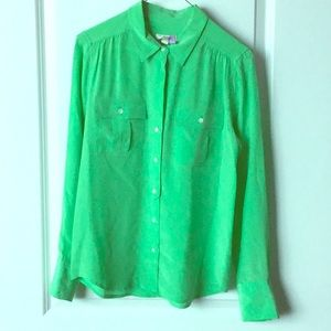 100% silk lime green button down